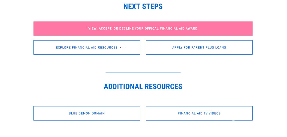 Screenshot view of DePaul's Financial Aid portal