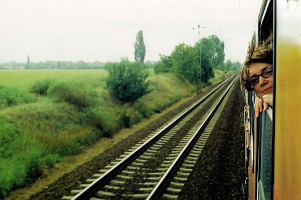 Student on train in Poland
