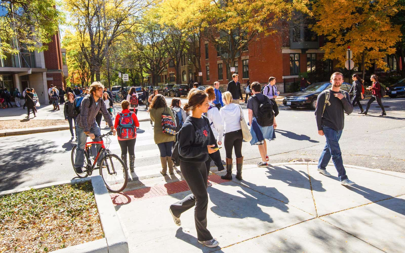 Students walking in the Lincoln Park campus.