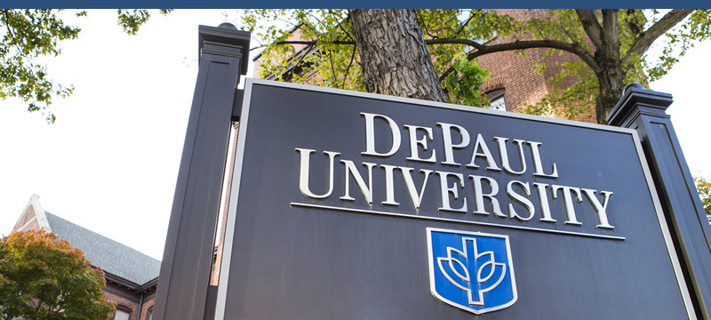 DPU Campus Sign in Lincoln Park Campus