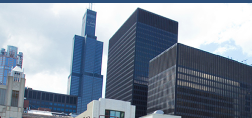 Photo from Ground of Part of the Chicago Skyline Including the Willis Tower