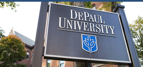 DePaul University Sign on the Lincoln Park Campus