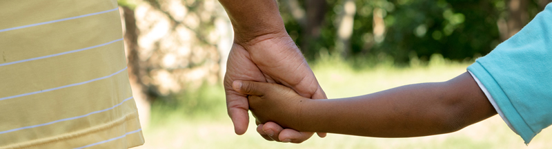 Father and Child Walking and Holding Hands in a Park