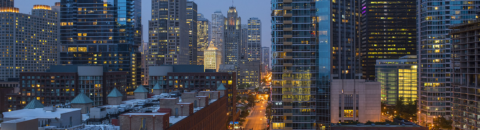 Night Time View of Chicago Buildings and Streets Downtown