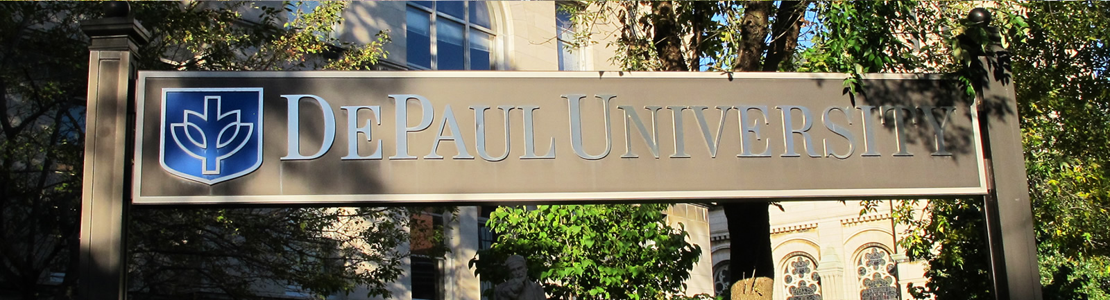 DePaul University sign outsid eof the Lincoln Park Campus