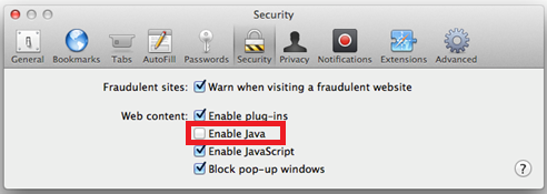 disable java in Safari image 3