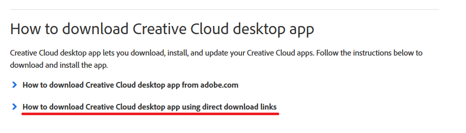 Where to click on Adobe website