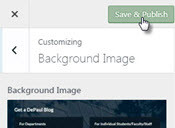 DePaul blogs save customizations button