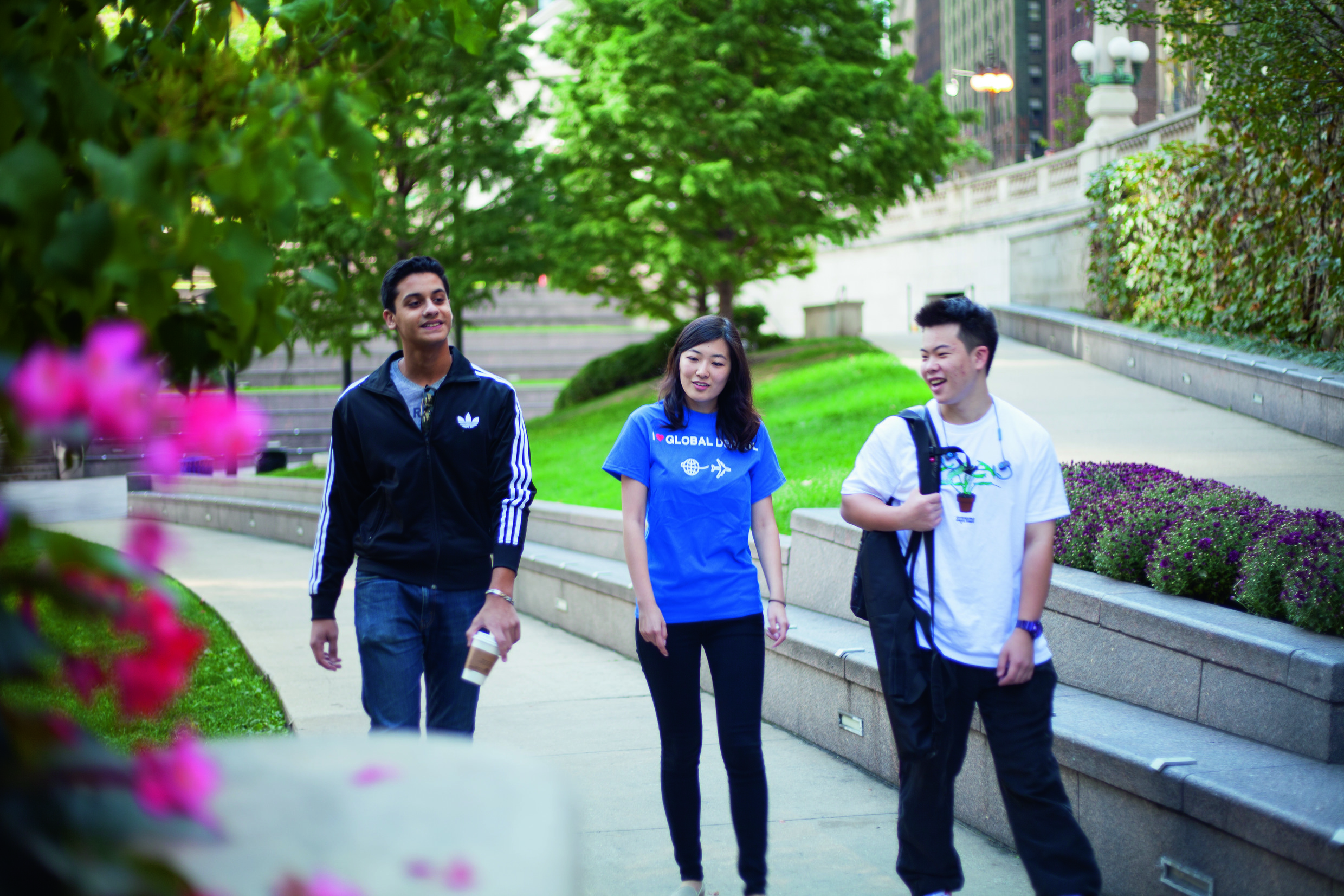 DePaul students walking in the Lincoln Park campus.