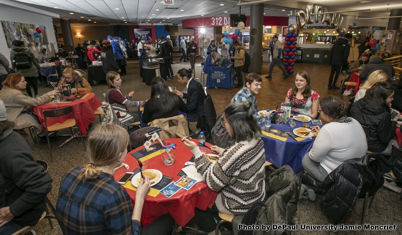 Students enjoy food and study during Midnight Breakfast event
