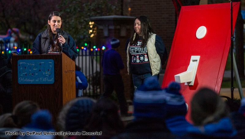 SGA president talks at Tree Lighting event
