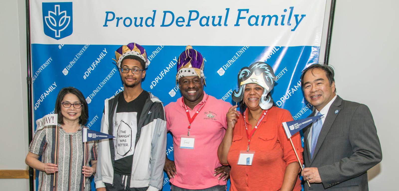 University President with family of DePaul Students