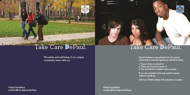 Take Care DePaul campaigns - Safety & Sexual Assault