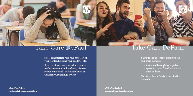 Take Care DePaul campaigns - Stress & Alcohol